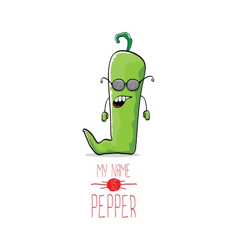 cayenne: vector funny cartoon green pepper character