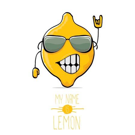 A vector funny cartoon cute yellow lemon illustration.