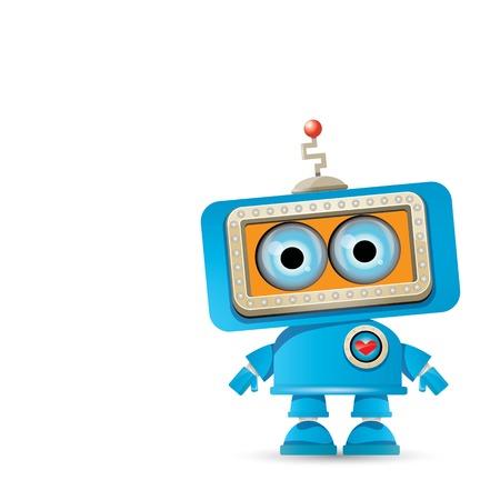 Vecteur robot drôle de dessin animé robot bleu Banque d'images - 84583977
