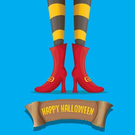 Cartel del partido de halloween del vector con las piernas de la bruja Foto de archivo - 84584064