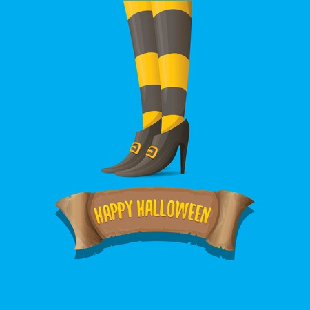 vector halloween party poster with witch legs