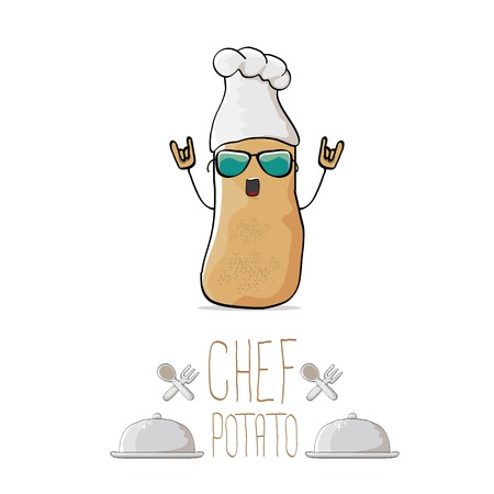 vector funny cartoon cute brown chef potato