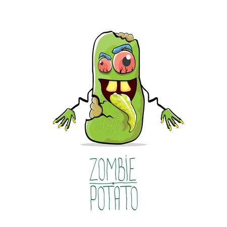 vector funny cartoon cute green zombie potato isolated on white background. Halloween monster vegetable funky character