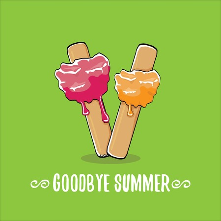 vector goodbye summer concept illustration