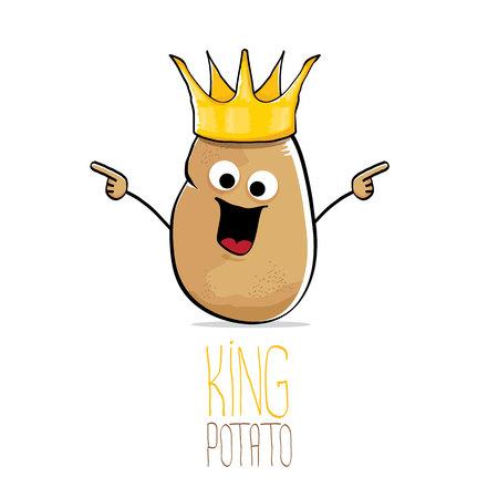 vector funny cartoon cool cute brown smiling king potato Фото со стока - 85536911