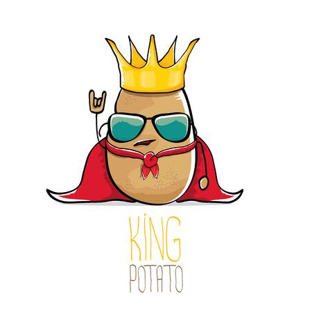 面白い漫画クールかわいい栗毛笑顔ベクトル王のジャガイモ