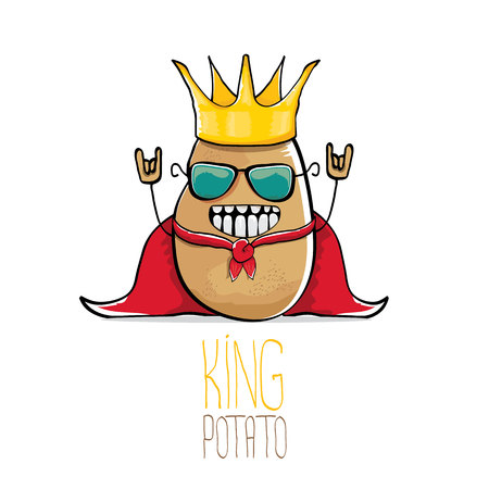 vector funny cartoon cool cute brown smiling king potato