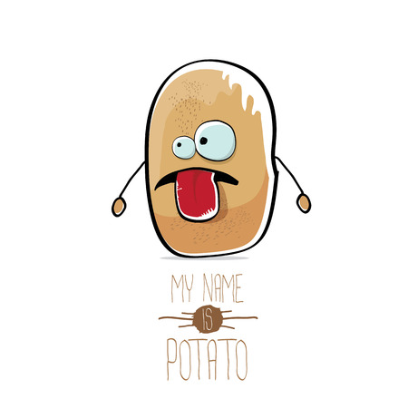 A vector funny cartoon cute brown potato isolated on white Illustration