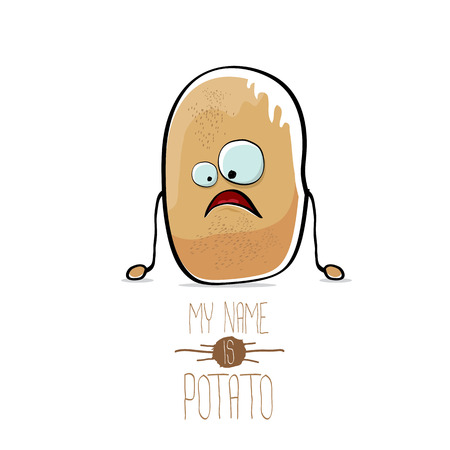 A vector funny cartoon cute brown potato isolated on white.