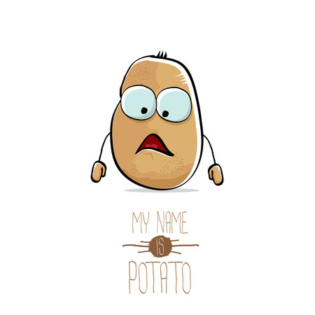 vector funny cartoon cute brown potato isolated on white