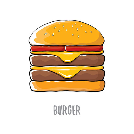 house logo: vector cartoon burger with cheese, meat and salad icon isolated on white background. Illustration