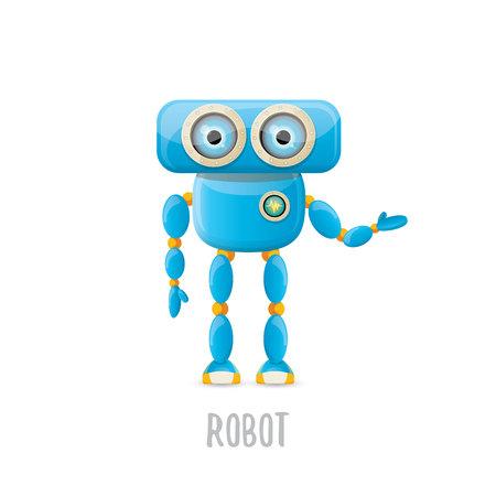 monitor: vector funny cartoon blue robot character