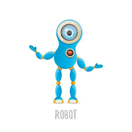 vector funny cartoon blue robot character