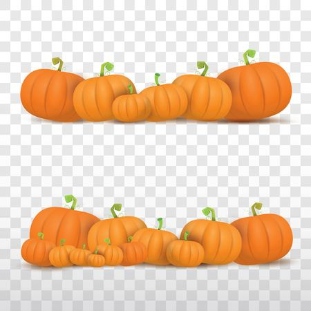 autumn vector orange pumpkins border design template for banners and thanksgiving day backgrounds. Фото со стока - 86427129
