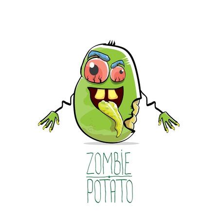 Funny cartoon cute green zombie potato Illustration