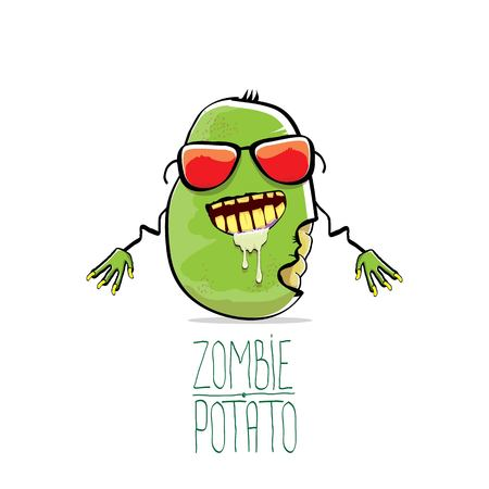 Funny cartoon cute green zombie potato Illustration