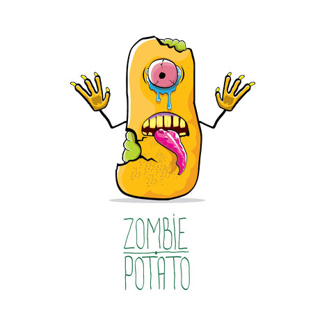 Funny cartoon cute orange zombie potato Illustration