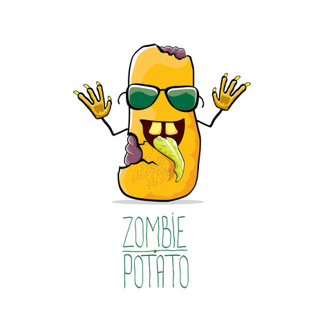 Funny cartoon cute orange zombie potato Illustration