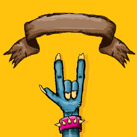 Blue cartoon Zombie hand shows rock n roll gesture isolated on orange with space for text .