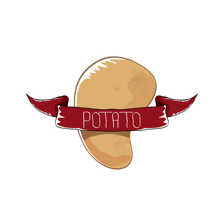 ベクトル面白い漫画かわいいポテト アイコンを茶色の背景に分離します。シール、バナー、ポスター、メニューのジャガイモ ラベル デザイン ・ テ  イラスト・ベクター素材