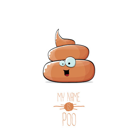 Funny cartoon cool cute brown poo icon.