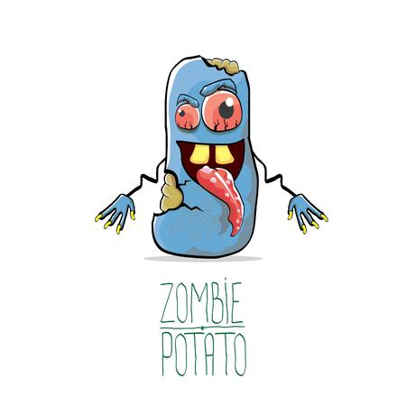 vector funny cartoon cute blue zombie potato isolated on white background. Halloween monster vegetable funky character Stock Vector - 87128212
