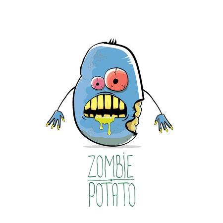 Vektor lustige Cartoon niedlichen blauen Zombie Kartoffel isoliert auf weißem Hintergrund. Halloween Monster Gemüse funky Charakter