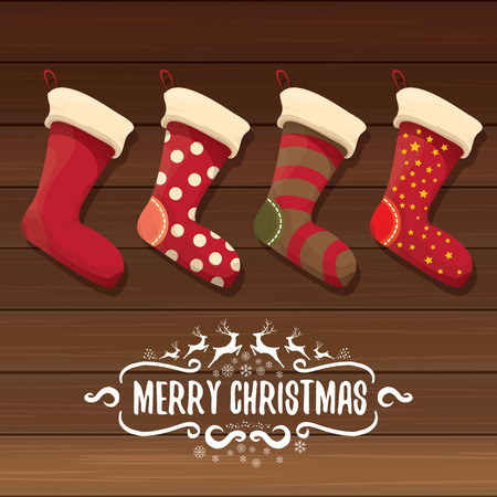 vector cartoon cute christmas stocking or socks with color ornament. Merry Christmas vector greeting card