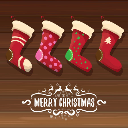 fireplace: vector cartoon cute christmas stocking or socks with color ornament. Merry Christmas vector greeting card
