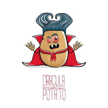 vector funny cartoon cute dracula potato with fangs and red cape isolated on white background. vampire monster vegetable funky character