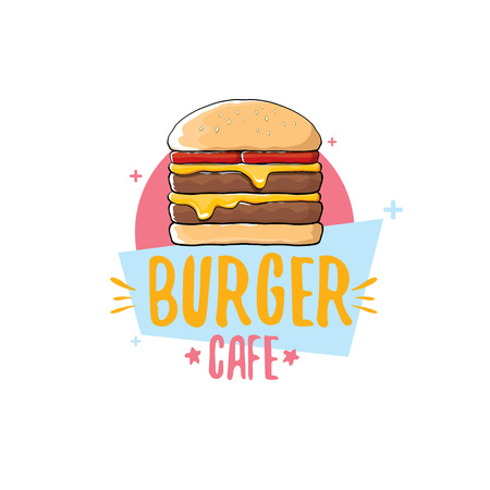 vector cartoon burger cafe logo design template with hamburger . label design element or burger house logo Illustration