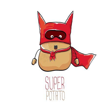 vector funny cartoon cute brown super hero potato with red hero cape