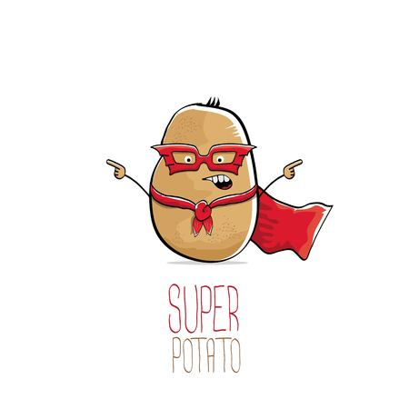vector funny cartoon cute brown super hero potato with red hero cape