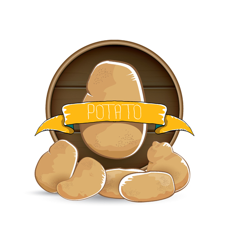 vector sweet brown potato label with pile of potatoes isolated on wooden round background.