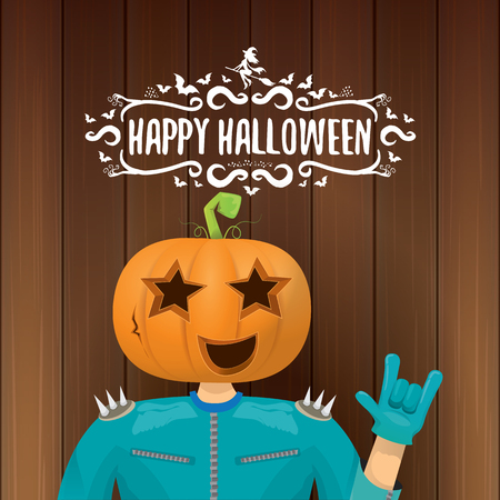 vector Happy halloween creative hipster party background. man in halloween costume with carved pumpkin head Illustration