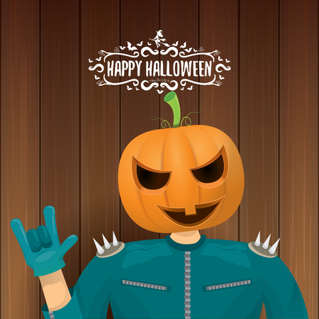 vector Happy halloween creative hipster party background. man in halloween costume with carved pumpkin head and calligraphic halloween text on wooden layout. Happy halloween rock concert poster design Illustration