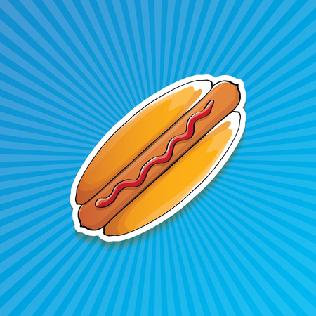 vector cartoon american hotdog sticker on blue background. Vintage hot dog poster or icon design element collection.