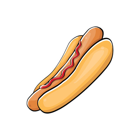 vector cartoon hotdog icon with sausage isolated on white background. Vintage hot dog label design element.