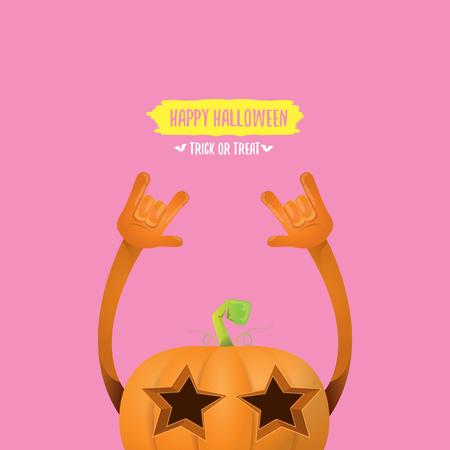 rock n: vector halloween funky rock n roll style pumpkin character isolated on pink background.