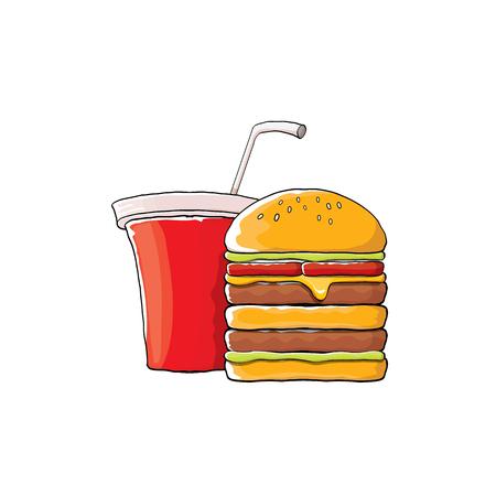 cola canette: vecteur dessin animé burger savoureux et cola tasse de papier avec de la paille isolé sur fond orange. Illustration