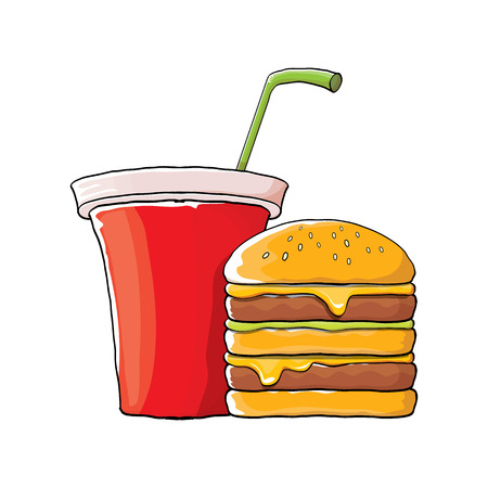 vector cartoon tasty burger and cola paper cup with straw isolated on orange background.