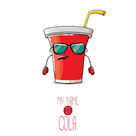 vector funny cartoon cute red paper cola cup with straw isolated on white background. My name is cola vector concept. funky hipster coke character icon