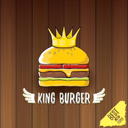 vector cartoon royal king burger with cheese and golden crown icon isolated on on wooden table background. Illustration