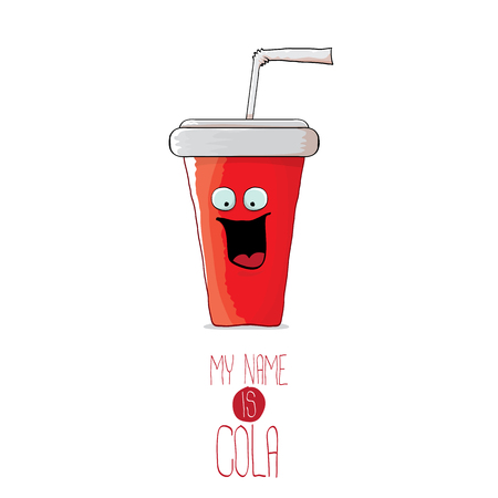 vector funny cartoon cute red party paper cola cup with straw isolated on white background.