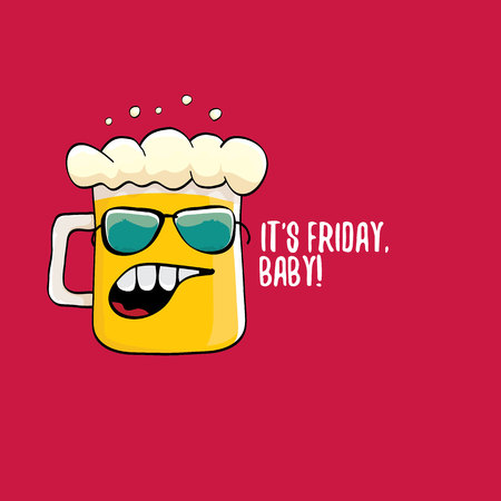 Its friday baby vector concept illustration with funky beer character isolated on red background.