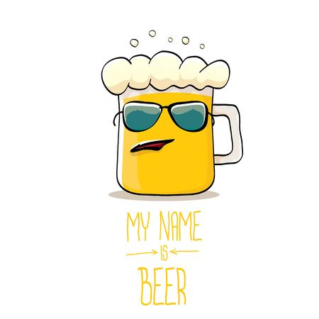 vector cartoon funky beer glass character with sunglasses isolated on white background.vector beer comic