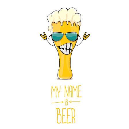 ベクトル漫画ファンキーなビール ガラス文字白 background.vector ビール コミックに分離されたサングラス
