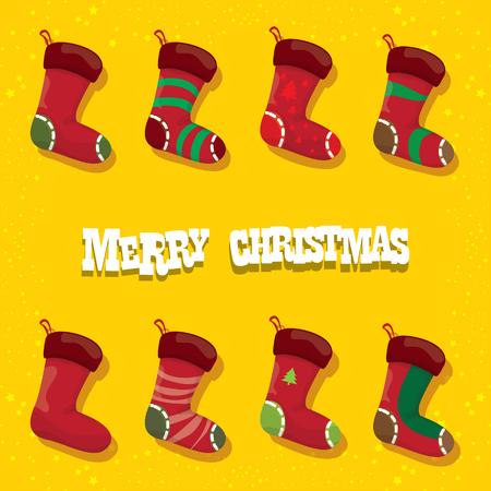 vector cartoon cute christmas stocking or socks with color ornament isolated on orange background. Merry Christmas vector greeting card