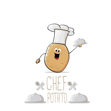 cute: vector funny cartoon cute brown chef potato with mustache and beard