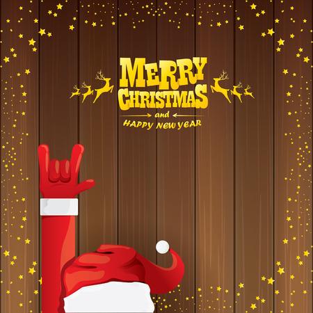 벡터 산타 클로스 락 n 크리스마스 스타 라이트와 목조 배경에 황금 붓글씨 인사말 텍스트와 스타일을 롤. 일러스트
